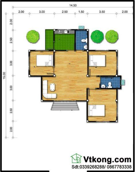 Mặt bằng bố trí nội thất biệt thự 1 tầng BT1T27