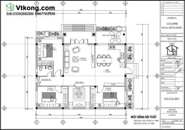 Mặt bằng bố trí nội thất biệt thự 1 tầng BT1T35
