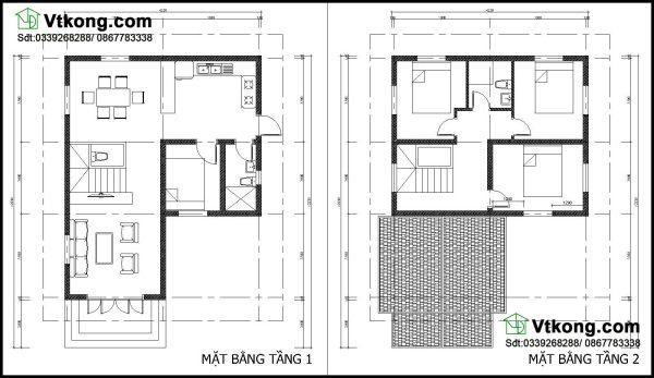 Mặt bằng bố trí nội thất biệt thự 2 tầng BT2T19