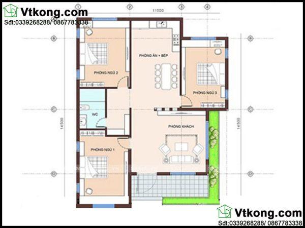 Mặt bằng bố trí nội thất biệt thự vườn 1 tầng BT1T26