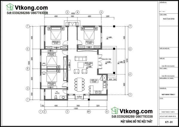 Mặt bằng bố trí nội thất biệt thự vườn 1 tầng BT1T30