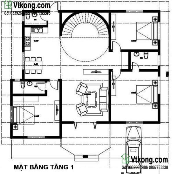 Mặt bằng bố trí nội thất tầng 1 BT2T15