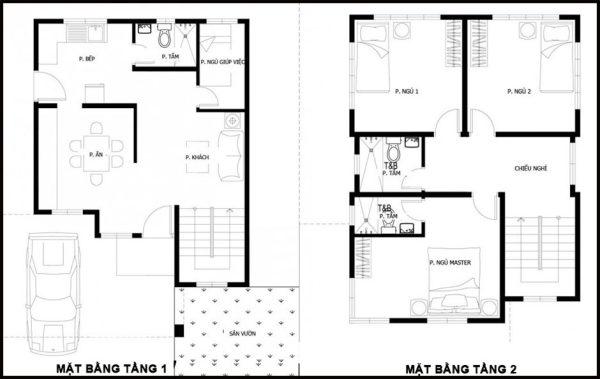 Mặt bằng bố trí nội thất tầng 1 và tầng 2 BT2T13