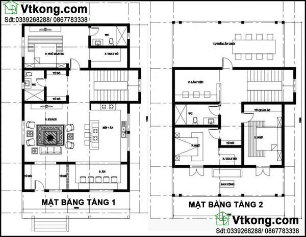 Mặt bằng bố trí nội thất tầng 1 và tầng 2 BT2T14