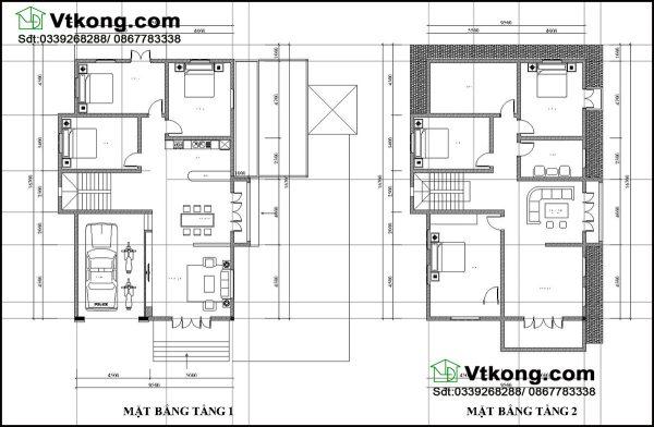 Mặt bằng bố trí nội thất tầng 1,2 BT2T17