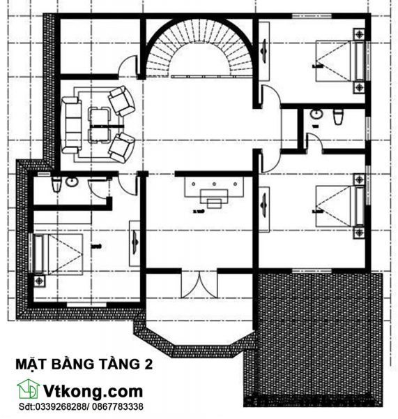 Mặt bằng bố trí nội thất tầng 2 BT2T15
