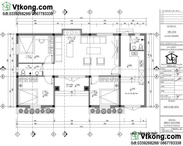 Mặt bằng thiết kế nội thất mẫu nhà cấp 4 8x14m