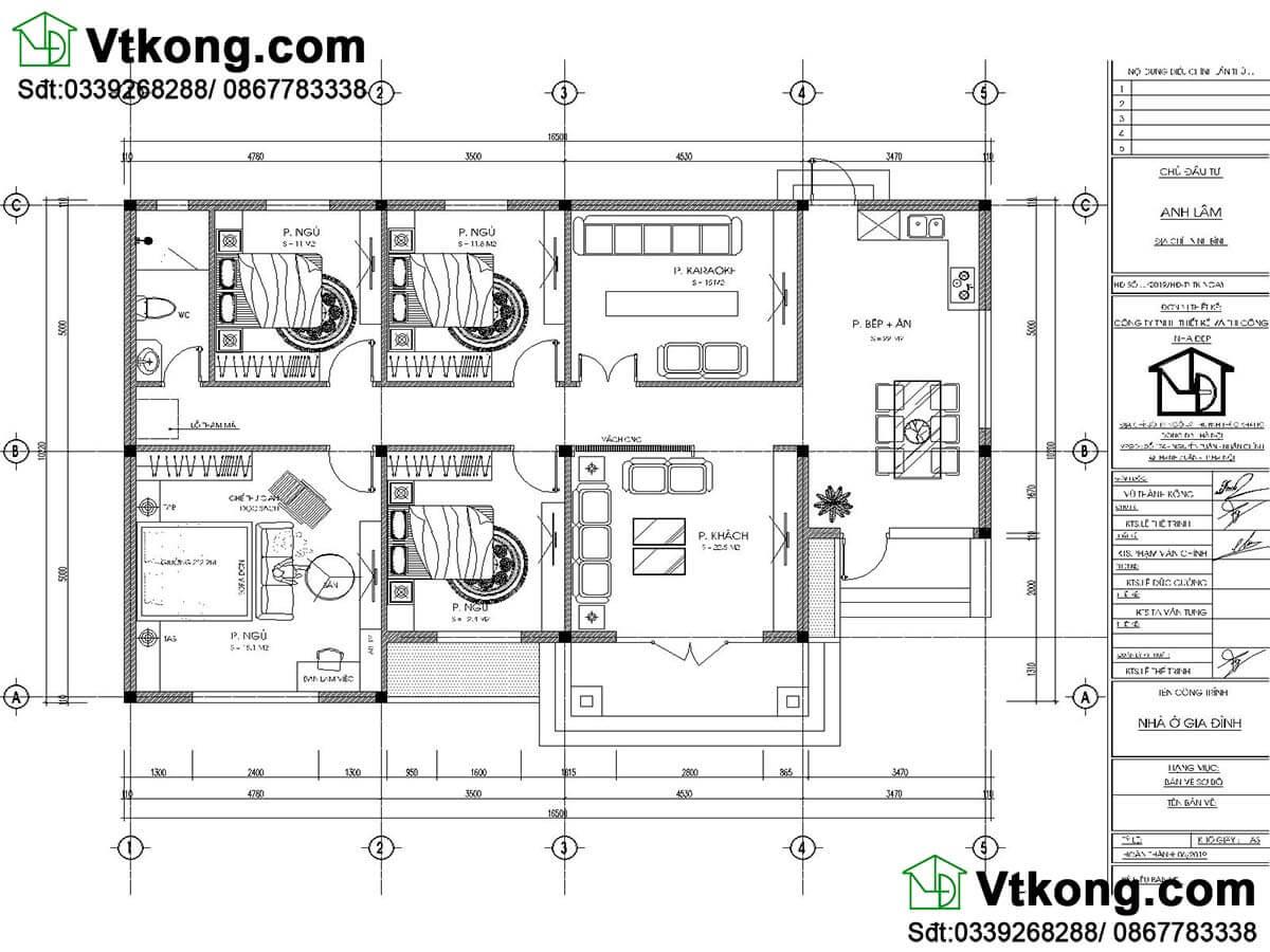 mặt bằng nội thất mẫu biệt thự vườn 1 tầng 10x16 có 4 phòng ngủ