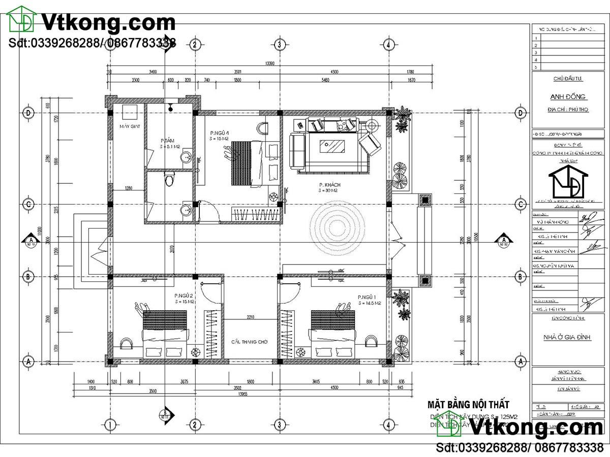 Mặt bằng nội thất biệt thự vườn 1 tầng 11x 14m mái thái