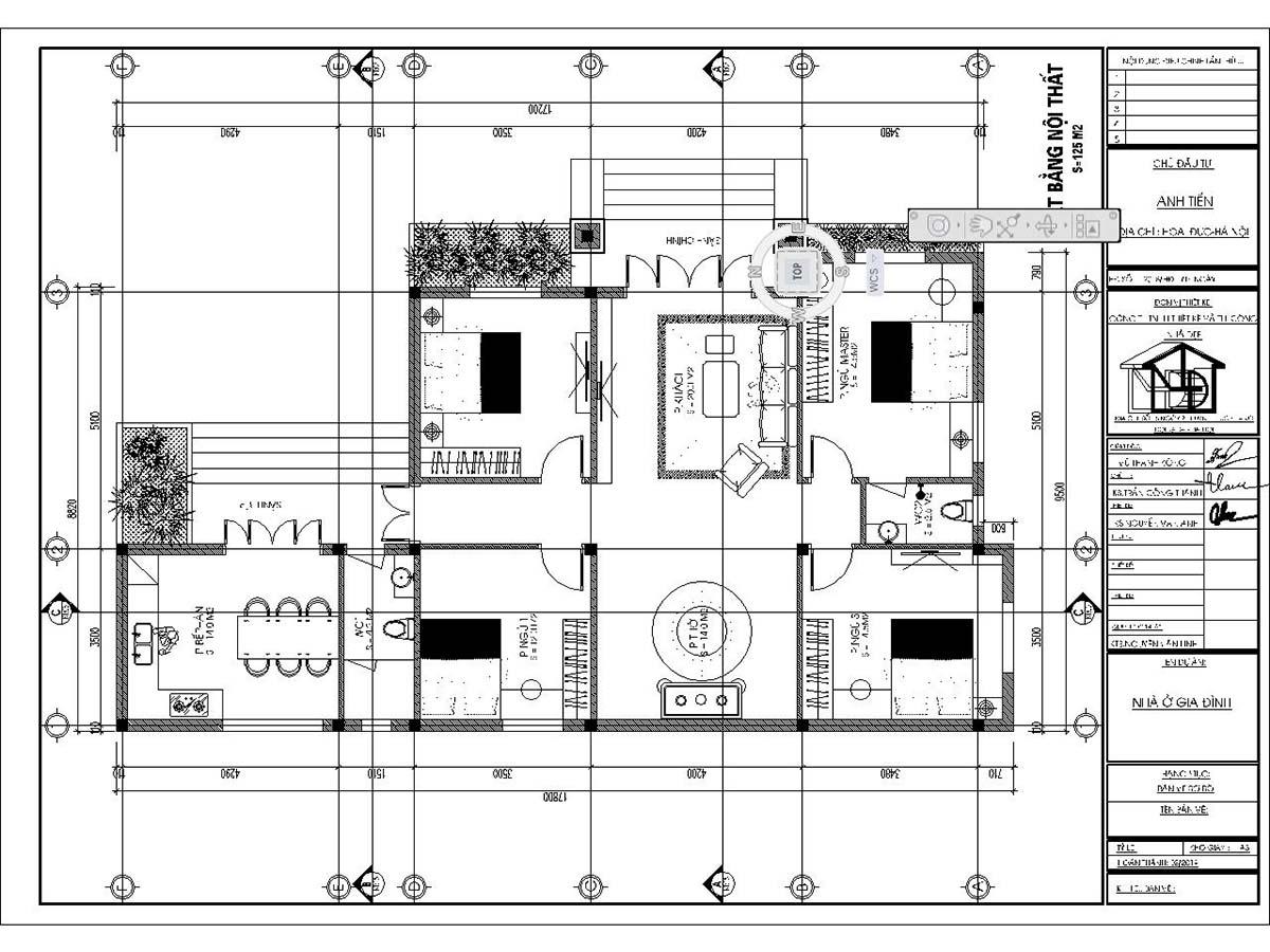 Mặt bằng bố trí nội thất thiết kế biệt thự 150m2 1 tầng