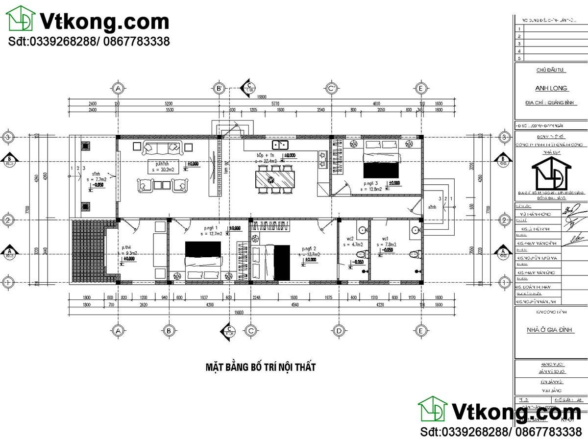 Mặt bằng công năng mẫu nhà cấp 4 3 phòng ngủ