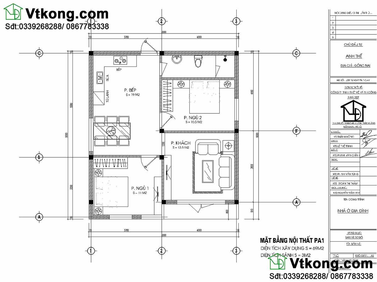 Mặt bằng bố trí công năng mẫu nhà cấp 4 mái thái 8x9m