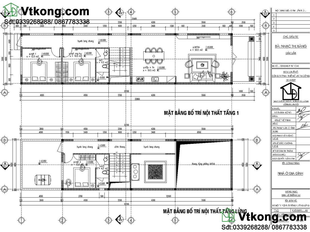 Mặt bằng nội thất tầng 1 và tầng lửng