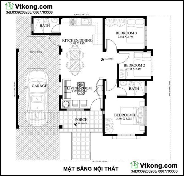 Mặt bằng nội thất nhà cấp 4 mái thái 11x11m NC423