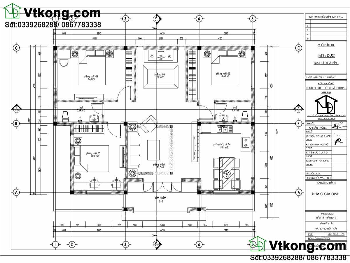 mặt bằng nội thất nhà cấp 4 9x12m