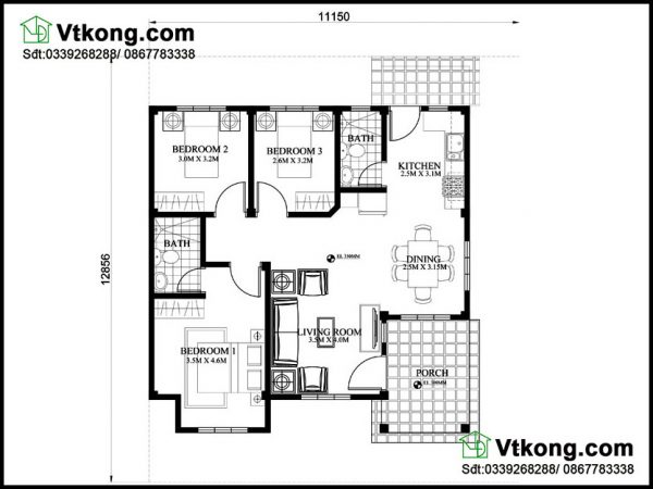 Mặt bằng nội thất nhà cấp 4 mái thái NC424