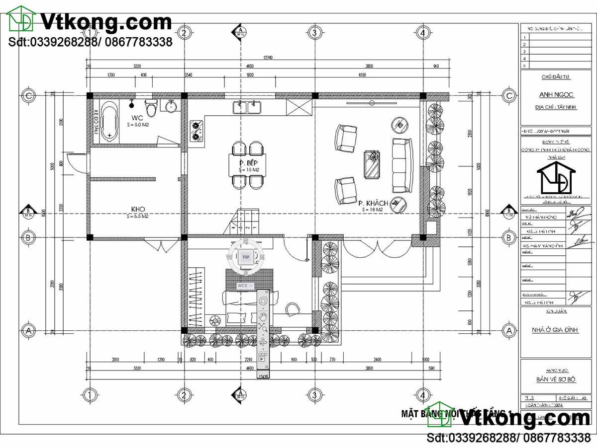 Mặt bằng tầng 1 thiết kế biệt thự nhỏ 2 tầng 9x13m