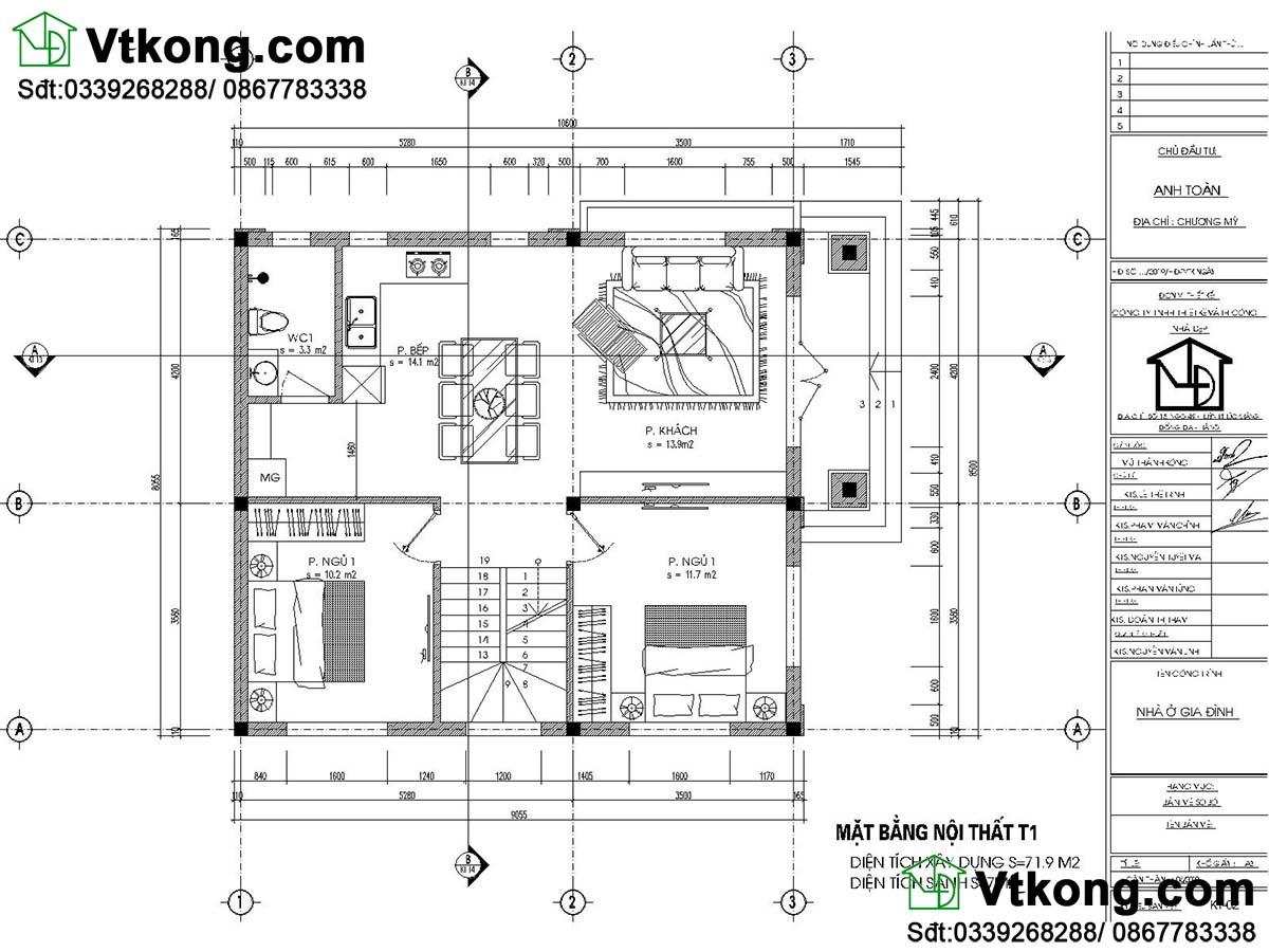 Thiết kế tầng 1 mẫu biệt thự 2 tầng 800 triệu mái thái biệt thự