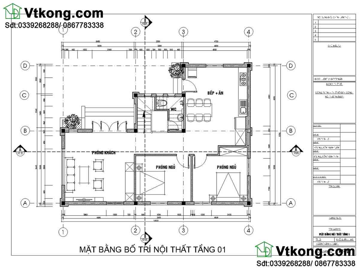 Mặt bằng nội thất tầng 1 biệt thự 2 tầng 9x13m mái thái
