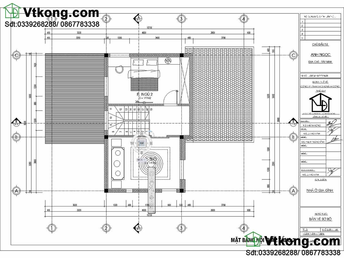 Mặt bằng tầng 2 thiết kế biệt thự nhỏ 2 tầng 9x13m