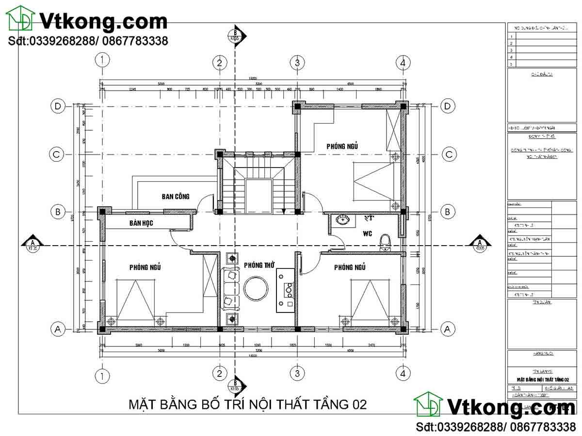 mặt bằng nội thất tầng 2 biệt thự 2 tầng 9x13m