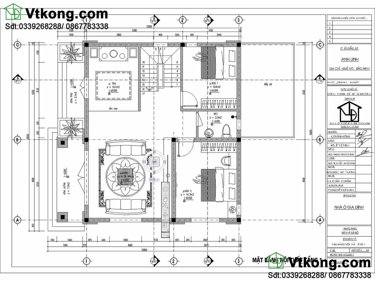 Mặt bằng tầng 1 mẫu biệt thự 2 tầng 10x11m mái thái