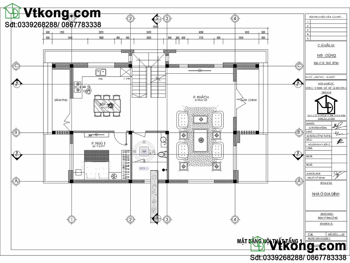 Mặt bằng bố trí nội thất tầng 1 NDBT2T65 mẫu biệt thự 2 tầng mặt phố