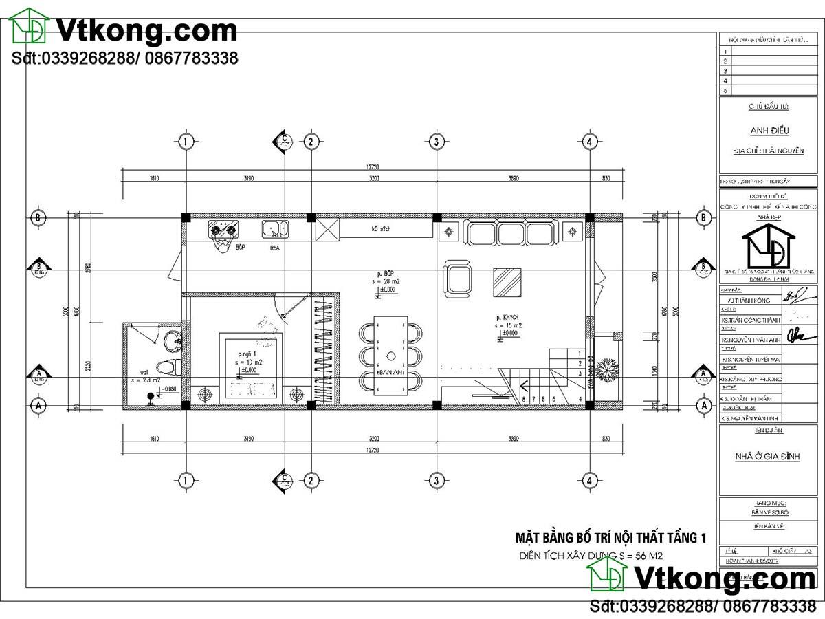 Bản vẽ tầng 1 Mẫu nhà cấp 4 5x13m
