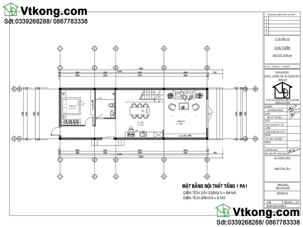 Mặt bằng nội thất tầng 1 nhà phố 2 tầng mặt tiền 5m