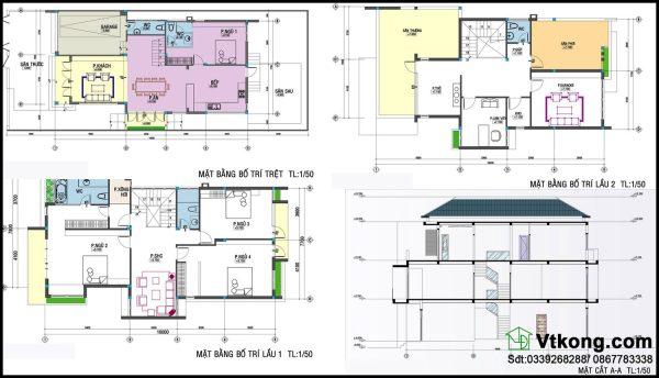 Mặt bằng tầng 1, tầng 2, tầng 3 biệt thự hiện đại BT3T1