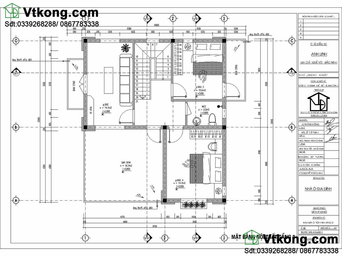 Mặt bằng tầng 2 mẫu biệt thự 2 tầng 10x11m mái thái