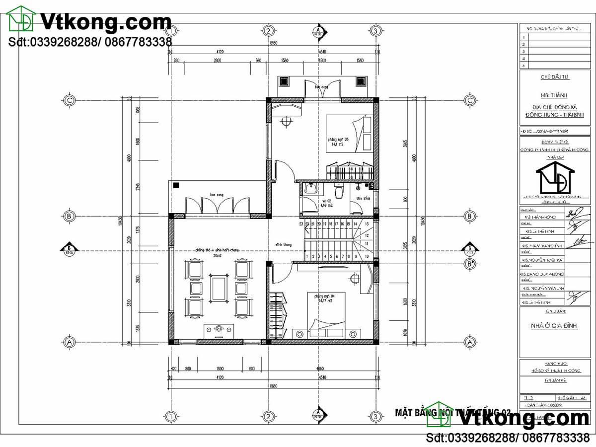 Mặt bằng tầng 2 mẫu biệt thự 2 tầng 9x10m