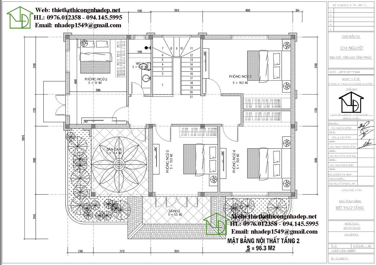 Mặt bằng nội thất tầng 2 biệt thự 2 tầng 200m2