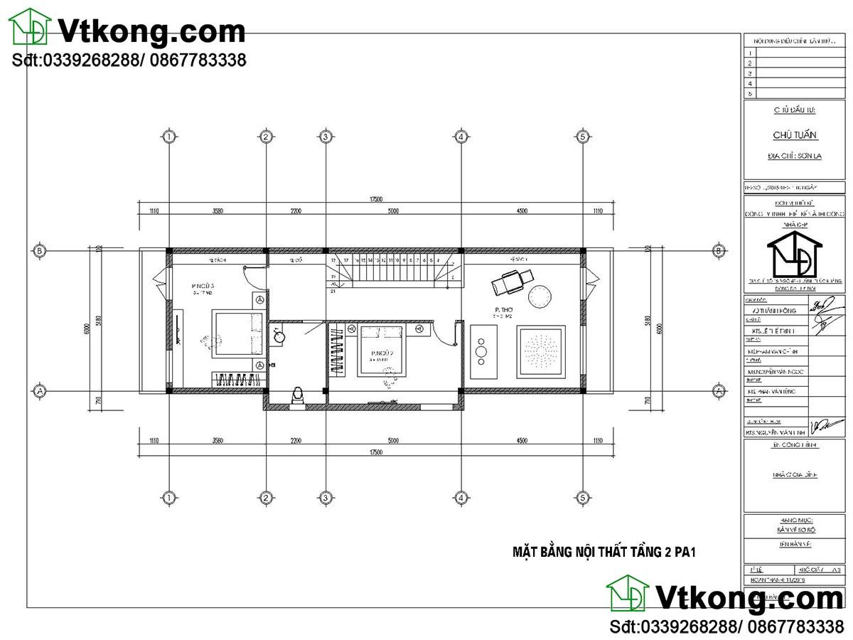 Mặt bằng nội thất tầng 2 nhà phố 2 tầng mặt tiền 5m