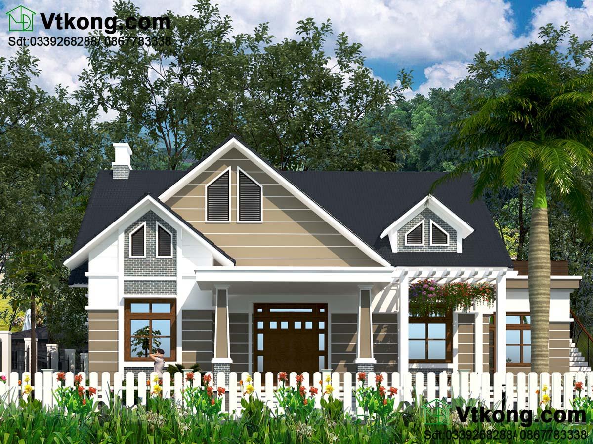 Thiết kế mẫu nhà 1 tầng 4 phòng ngủ hiện đại BT1T47