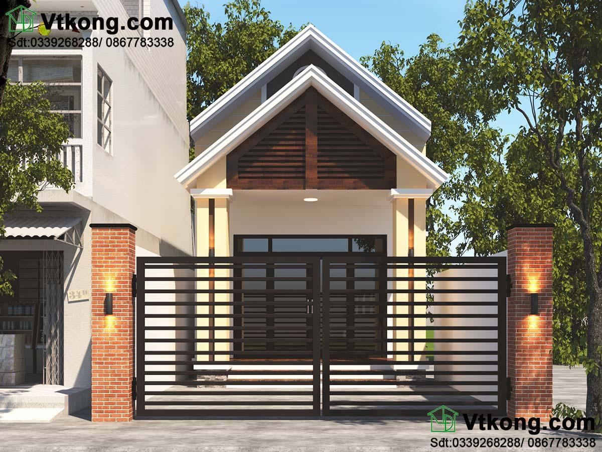 Thiết kế mẫu nhà cấp 4 5x23m mái thái hiện đại có gác lửng