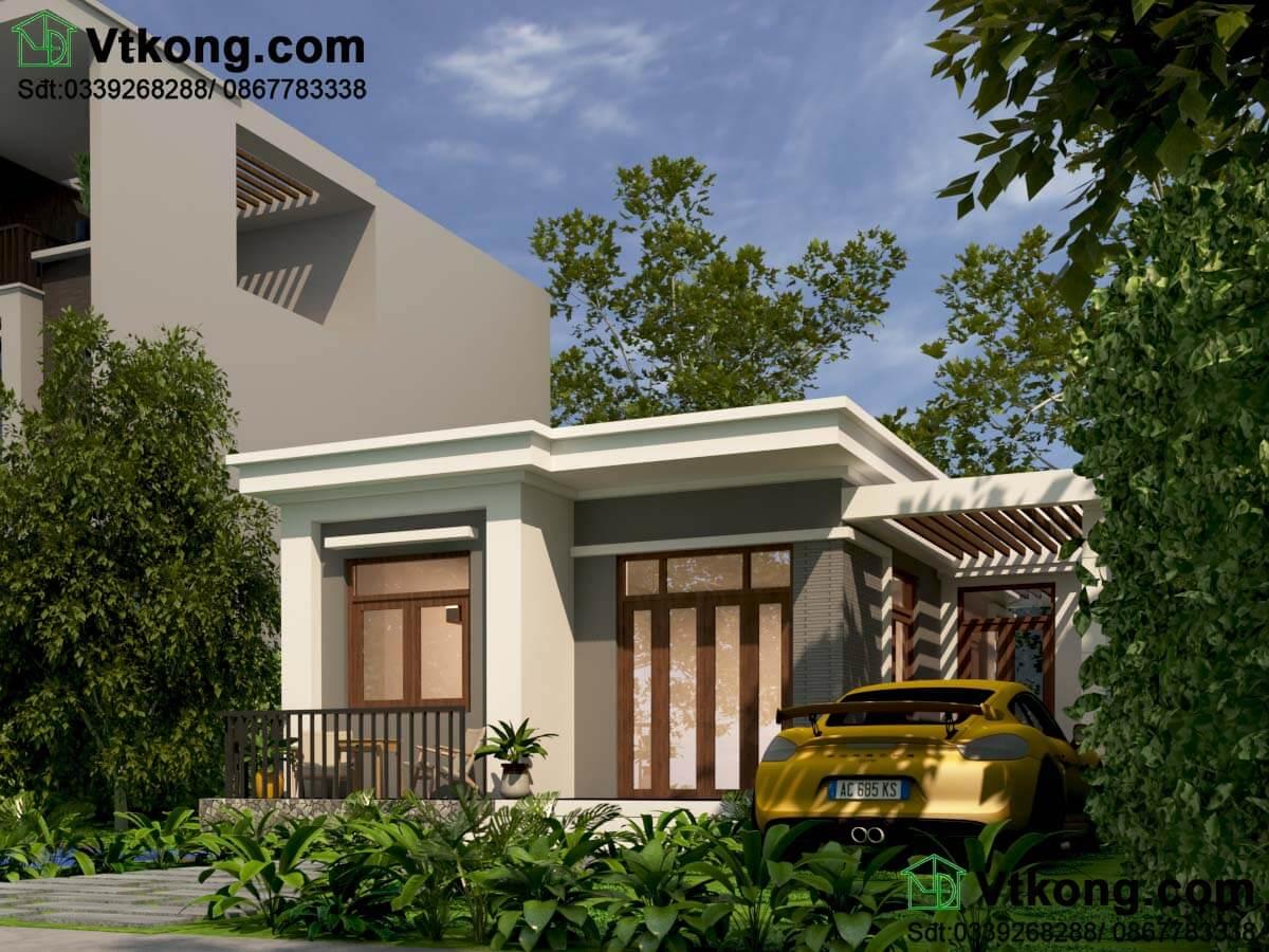 Thiết kế mẫu nhà cấp 4 8x9m nông thôn đẹp mái bằng