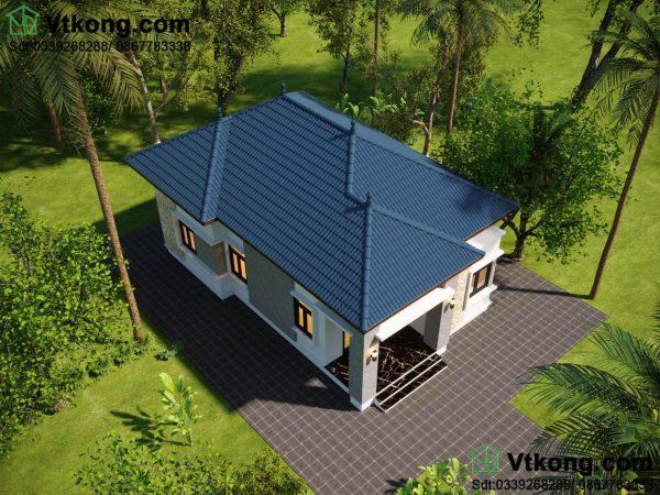 Phối cảnh mẫu nhà cấp 4 7x13m mái thái hiện đại