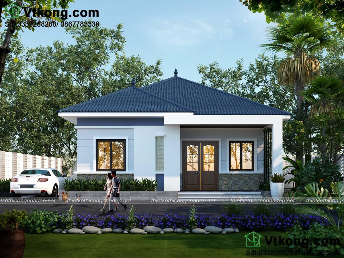 Mặt tiền thiết kế đơn giản nhà cấp 4 9x12m mái thái