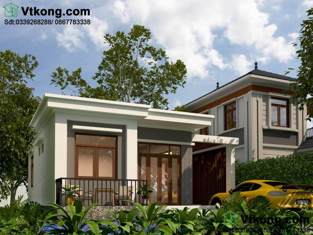 Mẫu nhà cấp 4 8x9m nông thôn mái bằng hiện đại