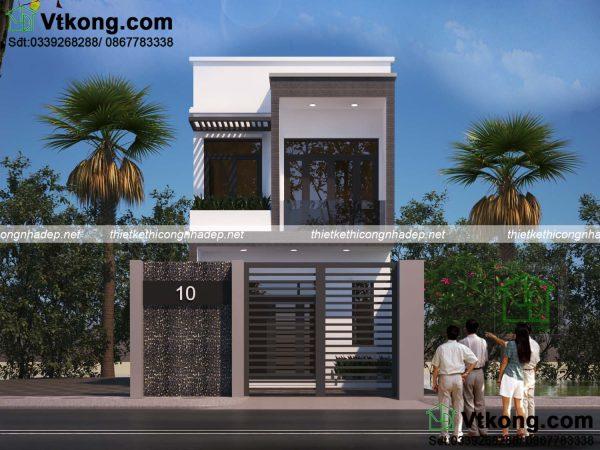 Thiết kế nhà phố 2 tầng mặt tiền 5m hiện đại kinh phí 950 triệu. 2