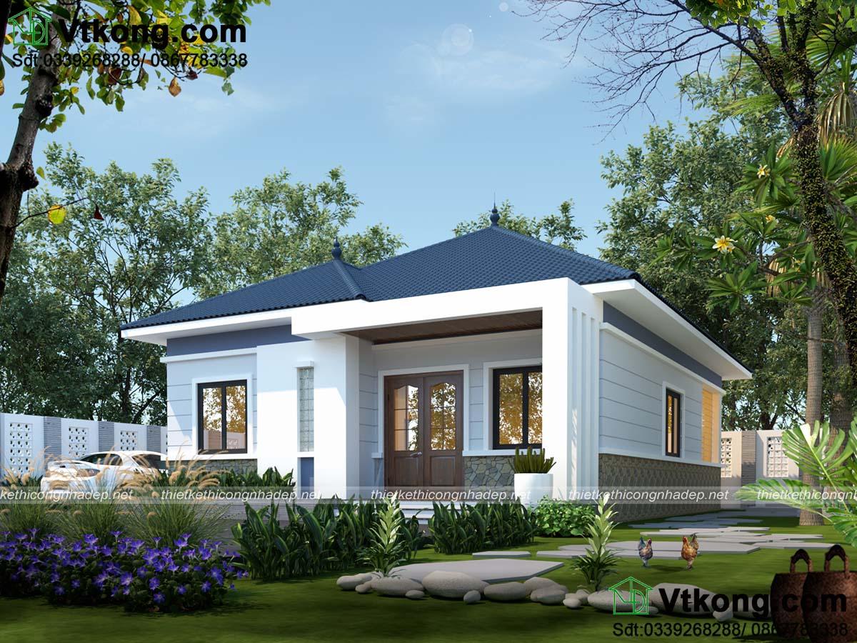Thiết kế nhà cấp 4 9x12m mái thái cân bằng ánh sáng tự nhiên và đối lưu không khí