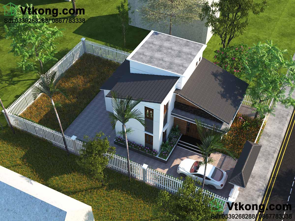 Phối cảnh tổng thể mẫu biệt thự nhỏ 2 tầng 9x13m