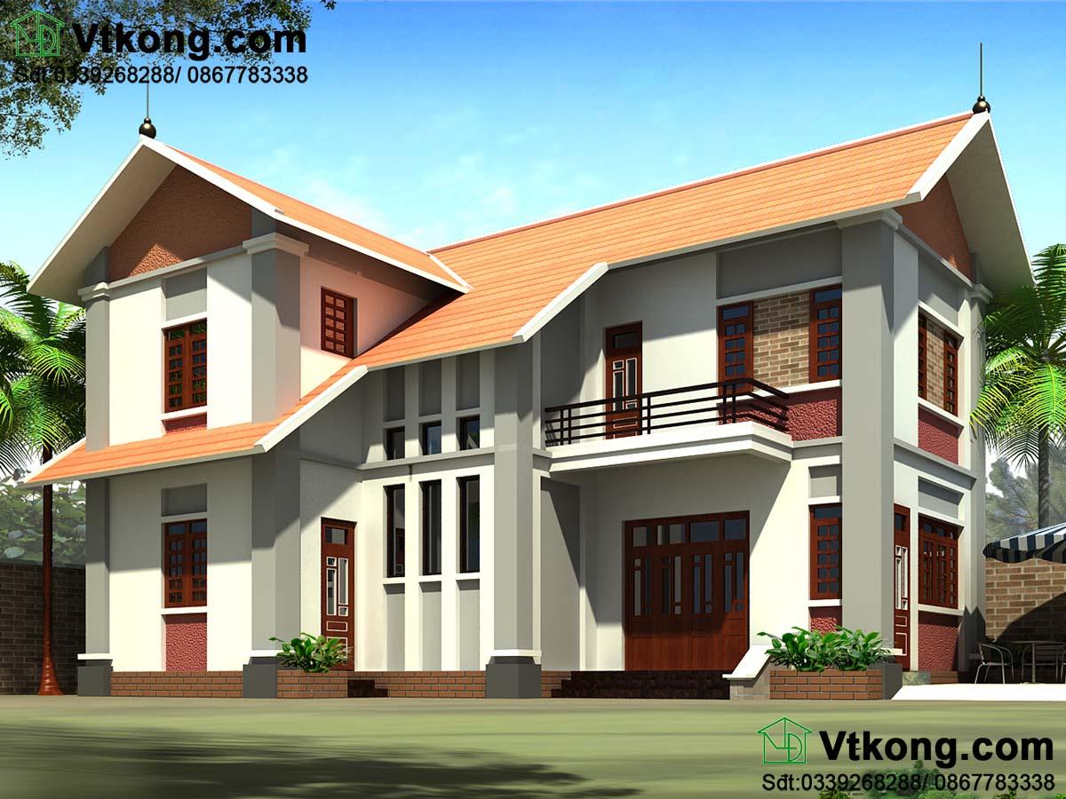 Nhà biệt thự 2 tầng 9x13m mái thái đẹp phong cách hiện đại