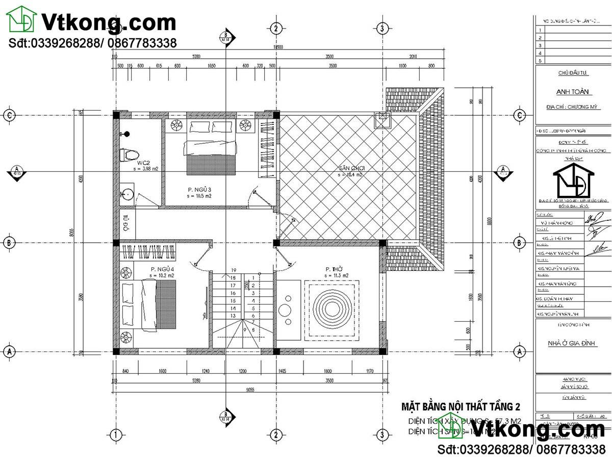 Thiết kế tầng 2 mẫu biệt thự 2 tầng 800 triệu mái thái biệt thự