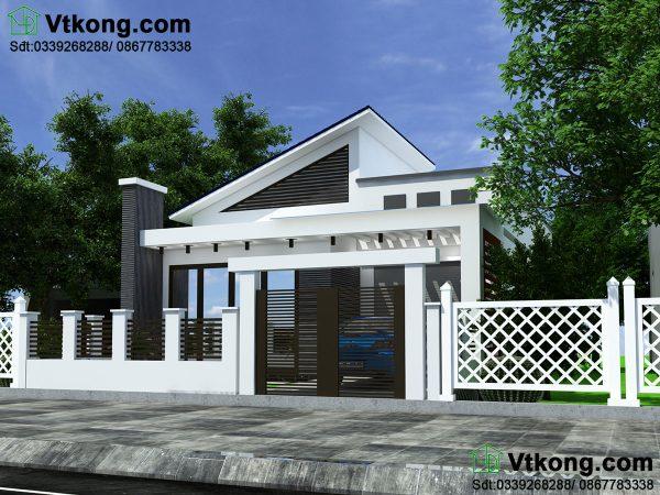 Thiết kế biệt thự vườn 1 tầng mái thái BT1T31