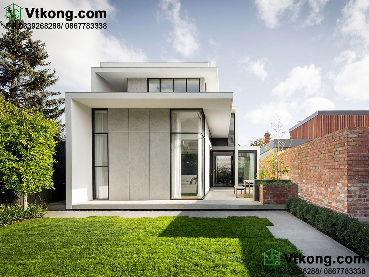 Khám phá mẫu thiết kế nhà 2 tầng mái bằng đẹp BT2T18