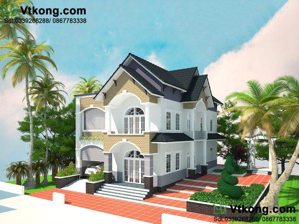 Thiết kế nhà 2 tầng mái thái đẹp BT2T17