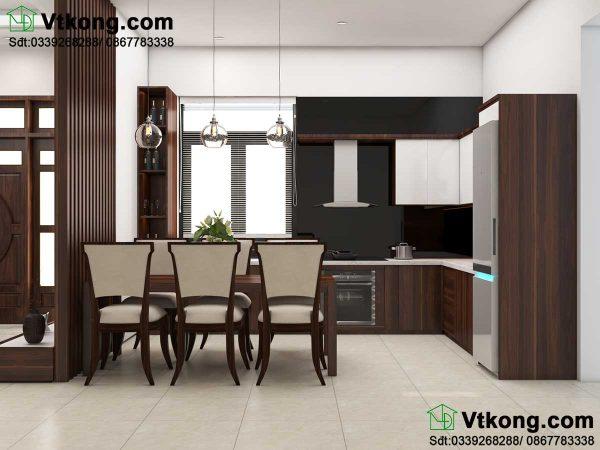 Thiết kế nội thất phòng bếp biệt thự vườn 1 tầng BT1T35