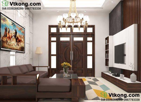 Thiết kế nội thất phòng khách biệt thự vườn BT1T35